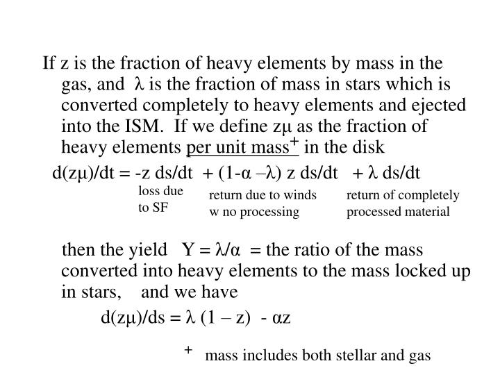 If z is the fraction of heavy elements by mass in the gas, and