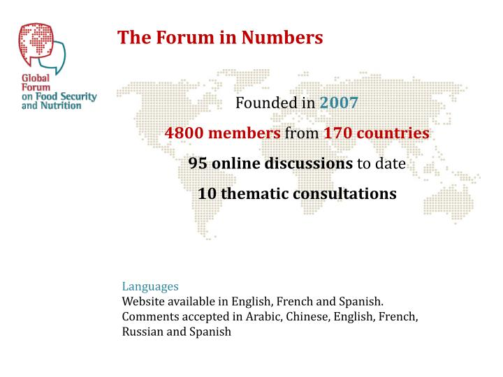 The Forum in Numbers