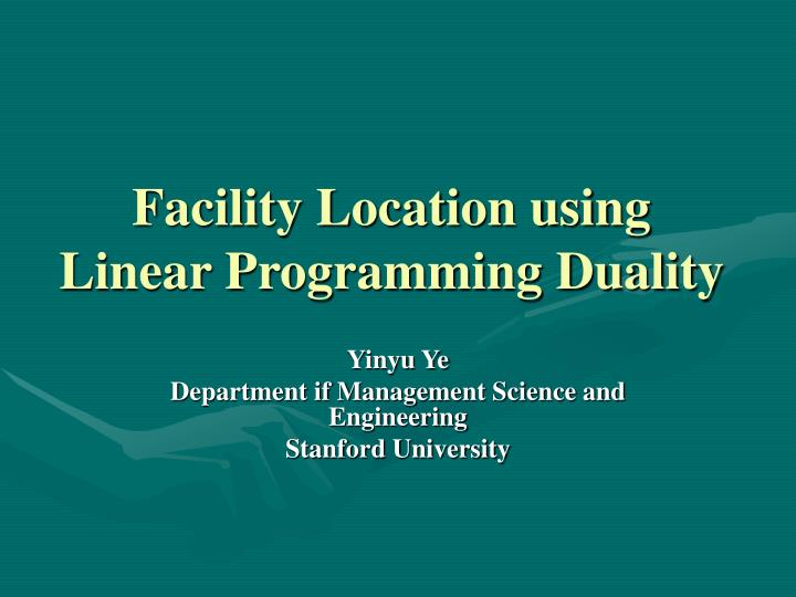 facility location using linear programming duality