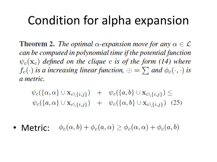Condition for alpha expansion