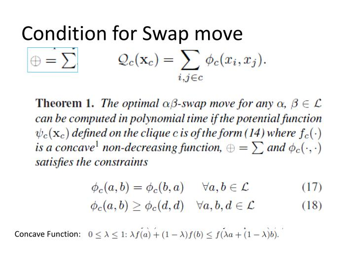 Condition for Swap move