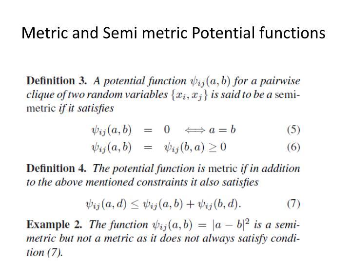 Metric and Semi metric Potential functions