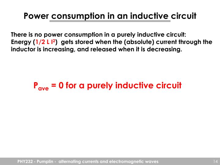 Power consumption in an inductive circuit