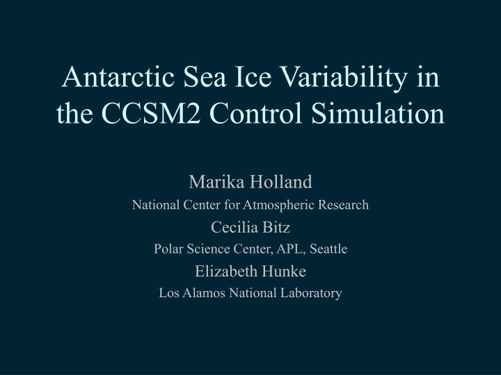 antarctic sea ice variability in the ccsm2 control simulation n.