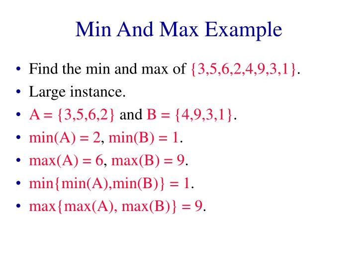 Min And Max Example