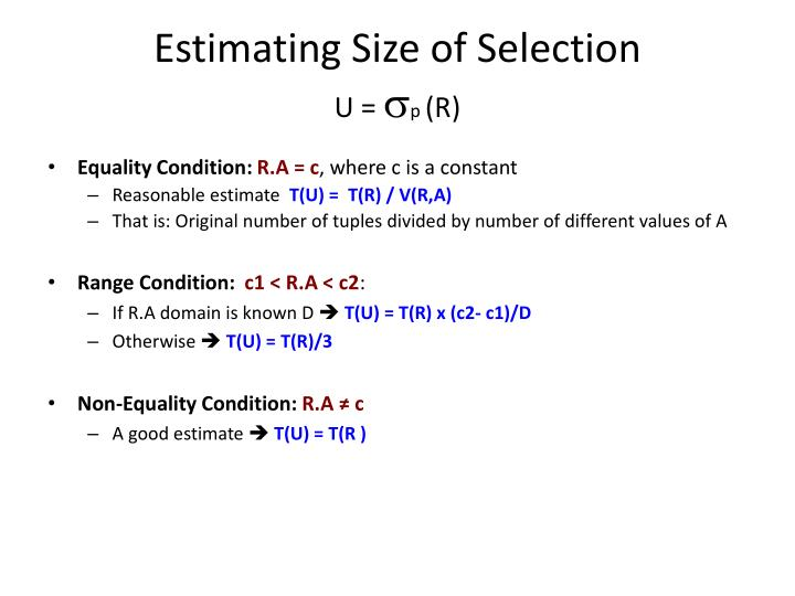 Estimating Size of Selection