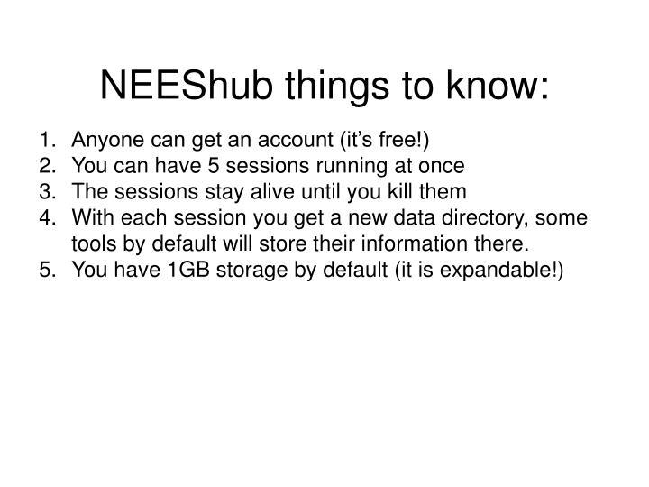 NEEShub things to know: