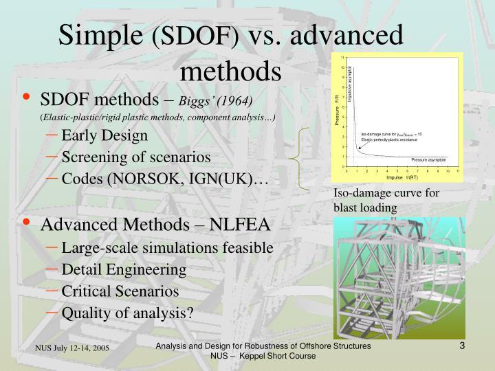Simple sdof vs advanced methods