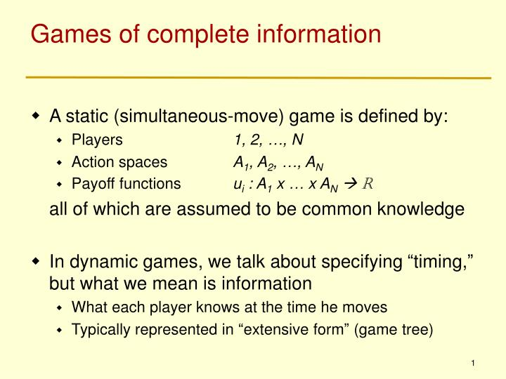 Games of complete information
