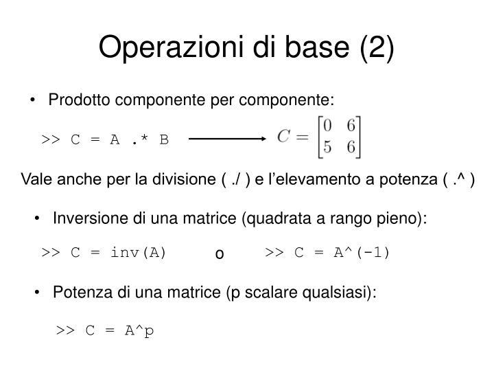 Operazioni di base (2)