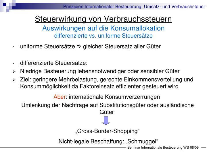 Steuerwirkung von Verbrauchssteuern