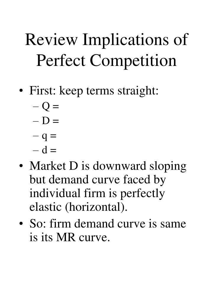 Review Implications of Perfect Competition