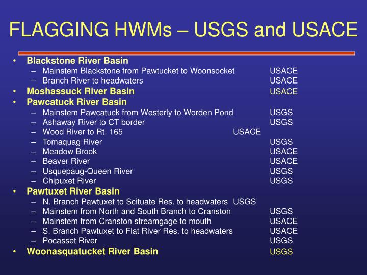 FLAGGING HWMs – USGS and USACE
