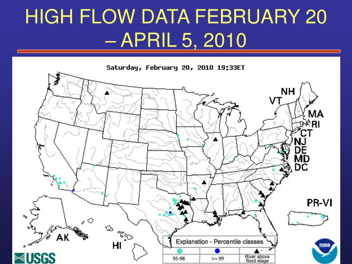 HIGH FLOW DATA FEBRUARY 20 – APRIL 5, 2010