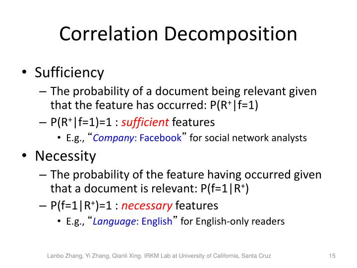 Correlation Decomposition