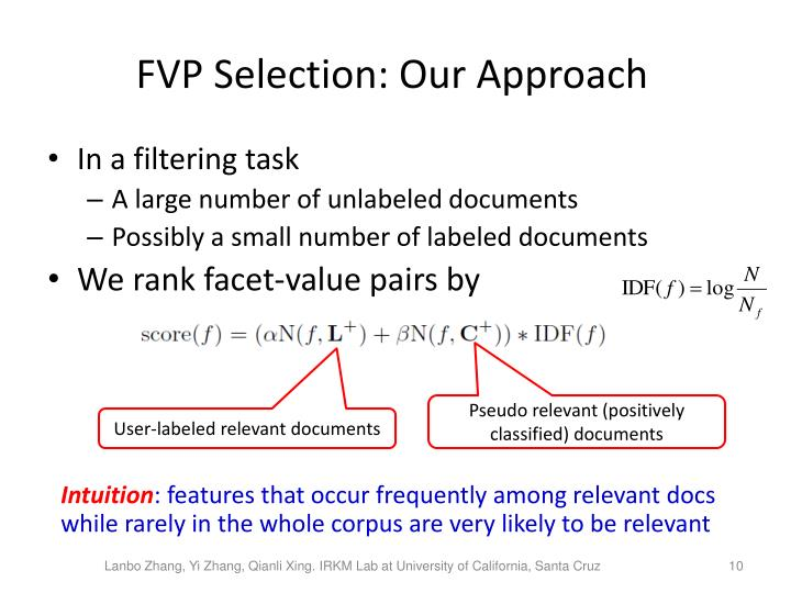 FVP Selection: Our Approach