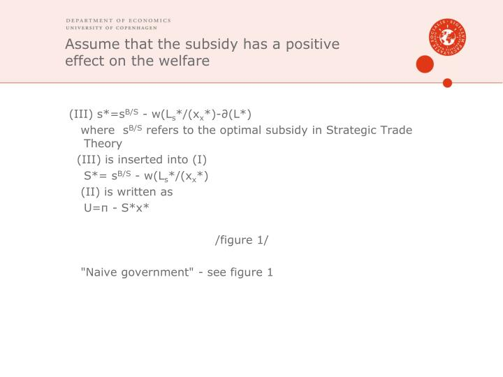 Assume that the subsidy has a positive effect on the welfare