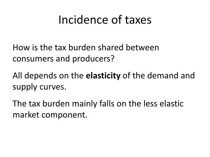 Incidence of taxes