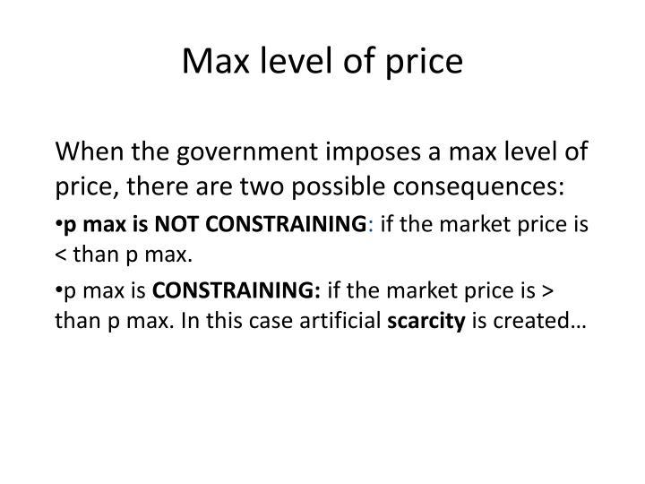 Max level of price