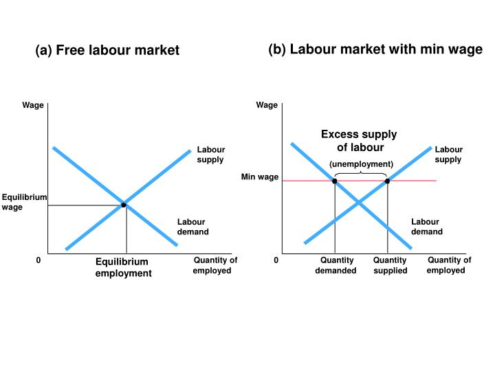 (b) Labour market with min wage