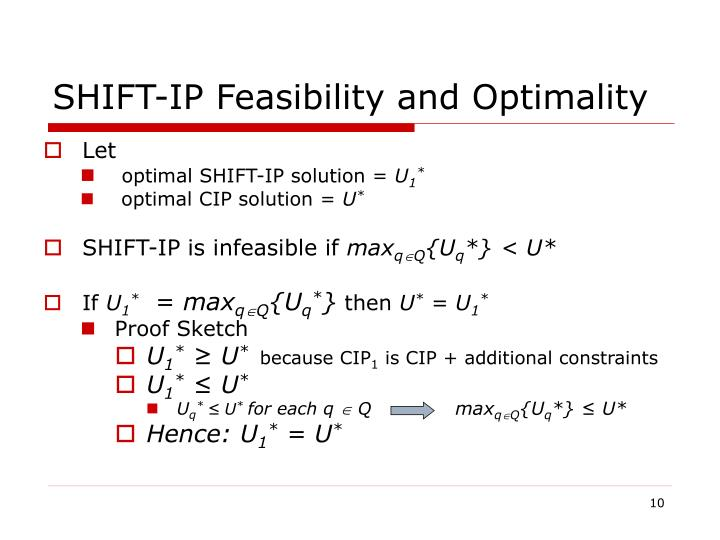 SHIFT-IP Feasibility and Optimality