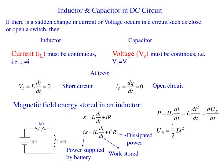 Inductor capacitor in dc circuit