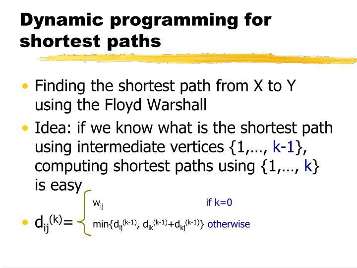 Dynamic programming for shortest paths