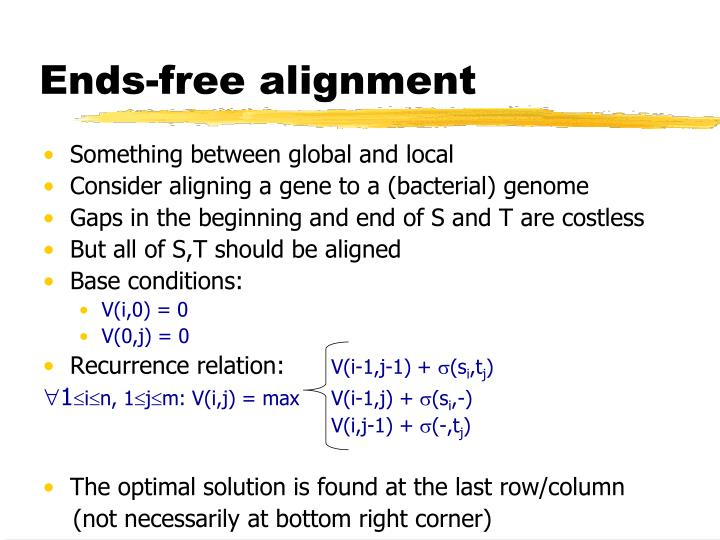 Ends-free alignment