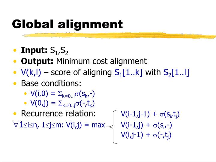 Global alignment