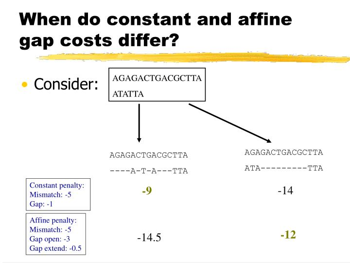 When do constant and affine gap costs differ?