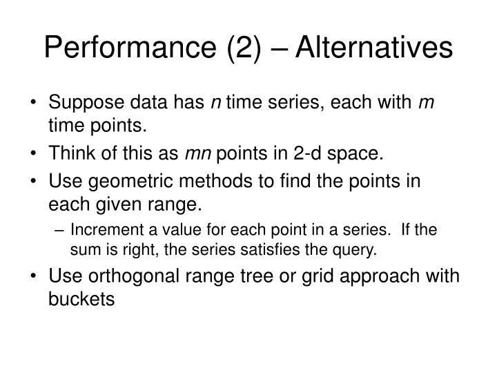 Performance (2) – Alternatives