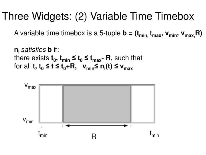 Three Widgets: (2) Variable Time Timebox