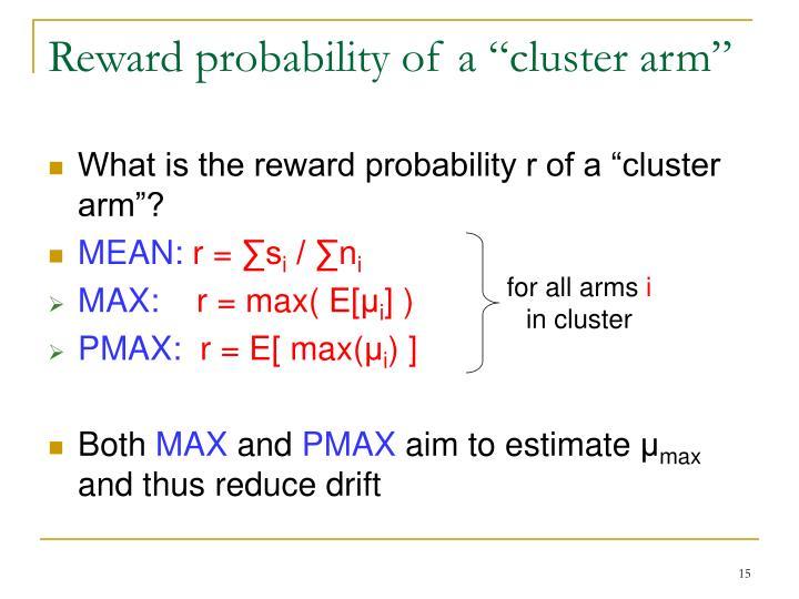 """Reward probability of a """"cluster arm"""""""