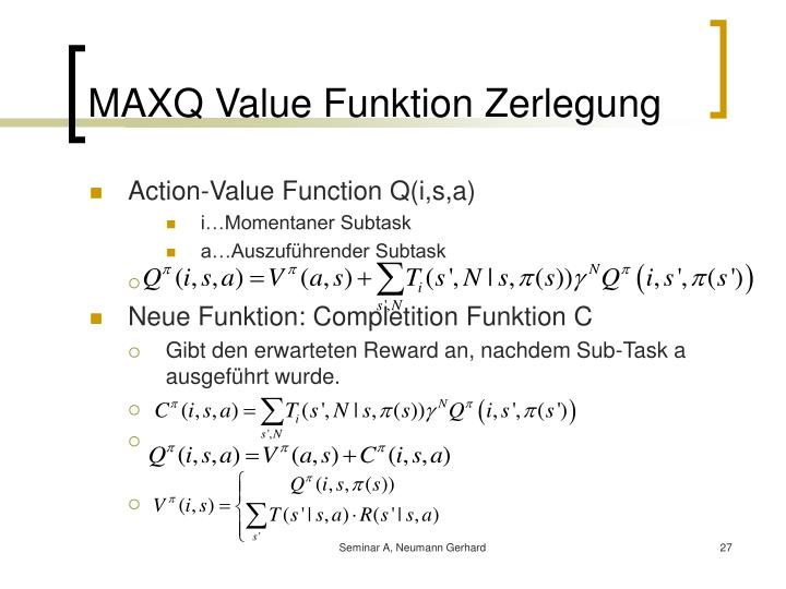MAXQ Value Funktion Zerlegung
