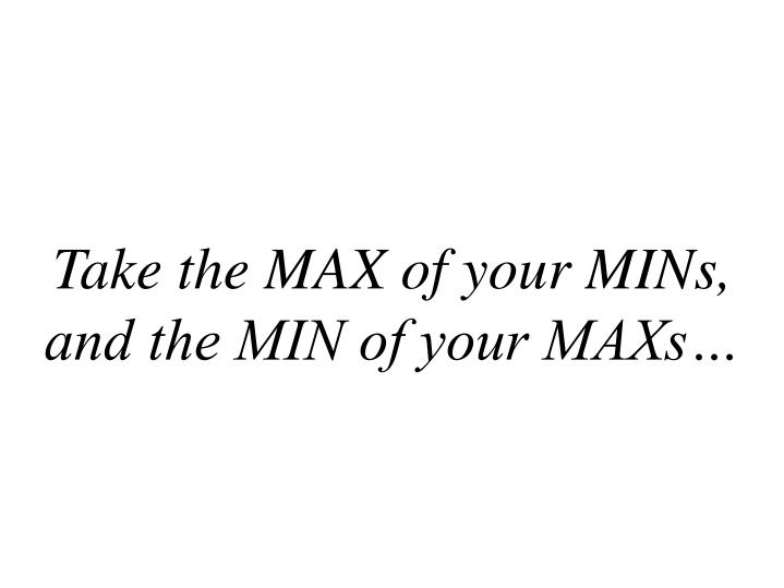 Take the MAX of your MINs,