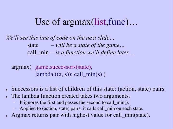Use of argmax(