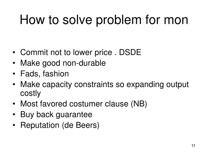 How to solve problem for mon