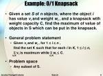 example 0 1 knapsack