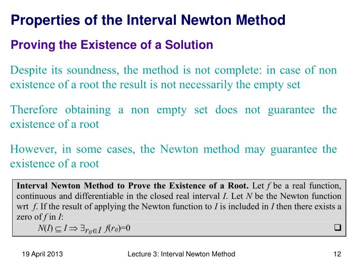 Properties of the Interval Newton Method