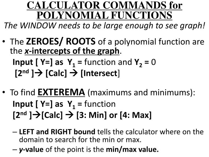 CALCULATOR COMMANDS for POLYNOMIAL FUNCTIONS