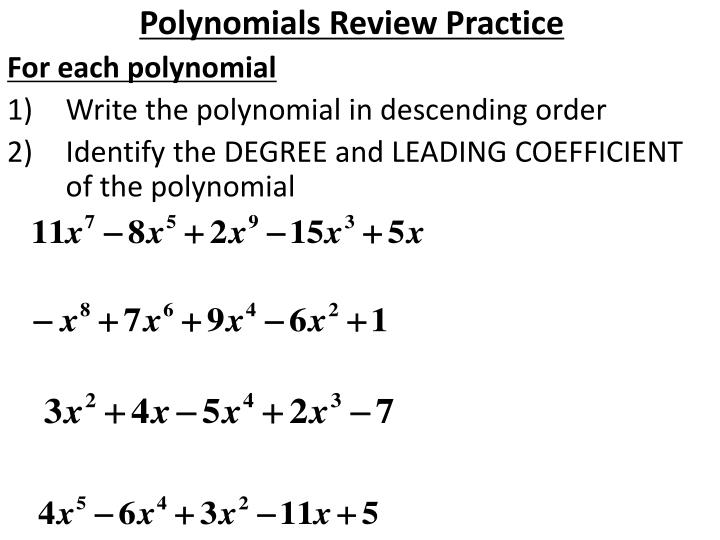 Polynomials Review Practice