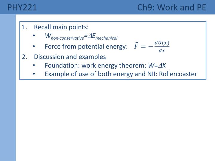 phy221 ch9 work and pe n.