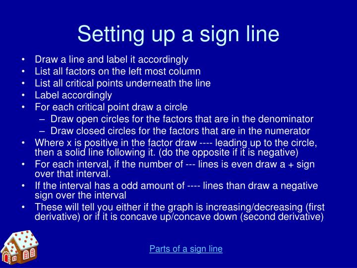 Setting up a sign line