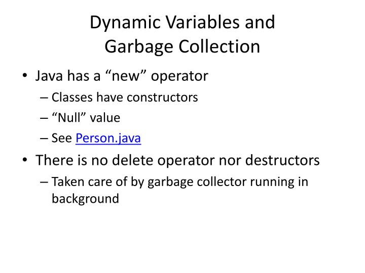 Dynamic Variables and