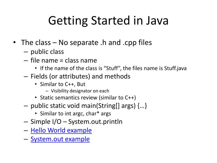Getting Started in Java
