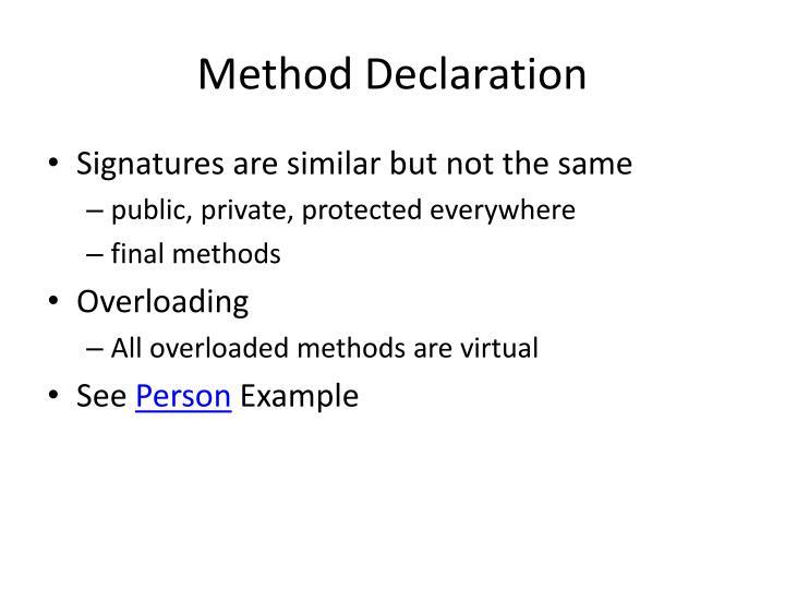 Method Declaration