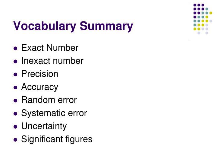 Vocabulary Summary