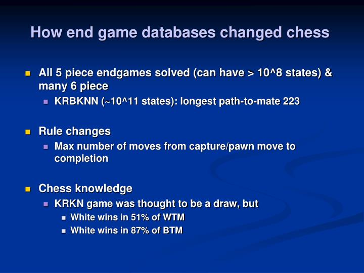 How end game databases changed chess