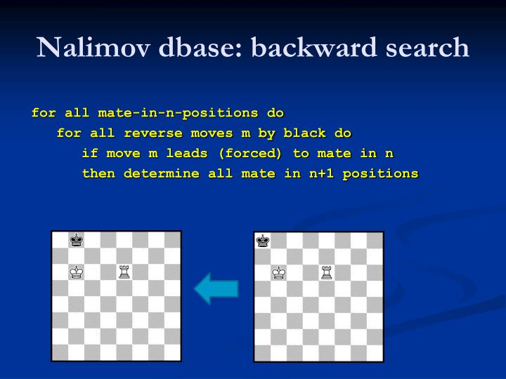 Nalimov dbase: backward search
