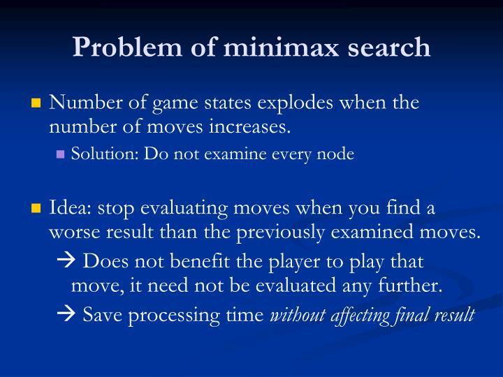 Problem of minimax search